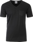 James & Nicholson – Men's Pocket V-Neck T-Shirt Organic for embroidery and printing