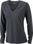 James & Nicholson – Ladies' Stretch V-Shirt Long-Sleeved for embroidery and printing