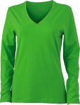 James & Nicholson – Ladies' Stretch V-Shirt Long-Sleeved zum besticken und bedrucken