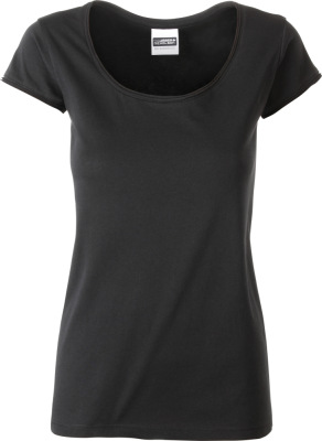 James & Nicholson - Damen Bio T-Shirt mit Rollsaum (black)