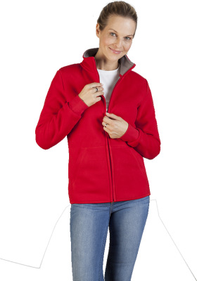Promodoro - Women's Double Fleece Jacket (red-light grey)