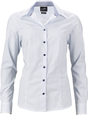 "James & Nicholson - Popeline Bluse ""Tupfen"" (white/light blue)"