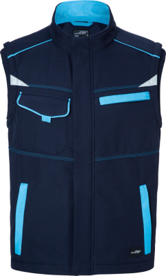 James & Nicholson - Workwear Sommer Softshell Gilet (navy/turquoise)
