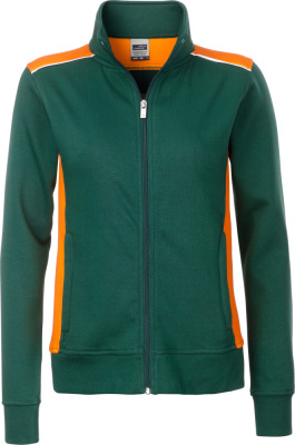 James & Nicholson - Damen Workwear Sweat Jacke (dark green/orange)