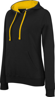 Kariban - Damen Kontrast Kapuzen Sweater (black/yellow)