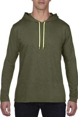 Anvil - Lightweight Long Sleeve Hooded Tee (Heather City Green/Dark Grey)
