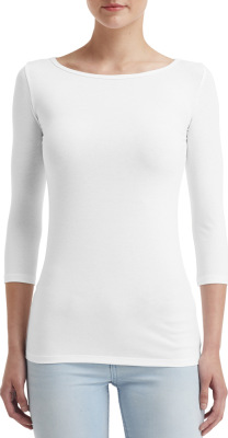 Anvil - Women`s Stretch 3/4 Sleeve Tee (White)