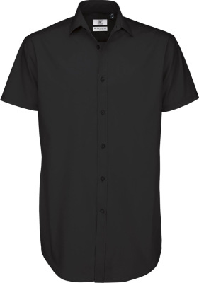 B&C – Poplin Shirt Black Tie Short Sleeve / Men