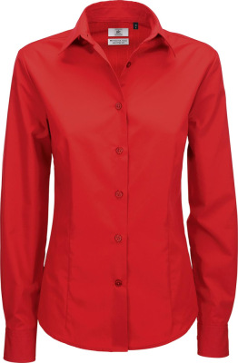 B&C - Poplin Shirt Smart Long Sleeve / Women (Deep Red)