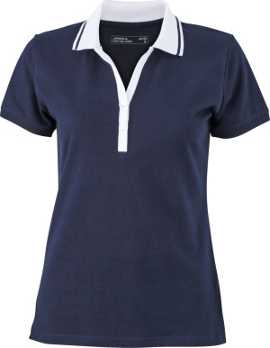 James & Nicholson - Ladies' Elastic Polo Short-Sleeved (navy/white)