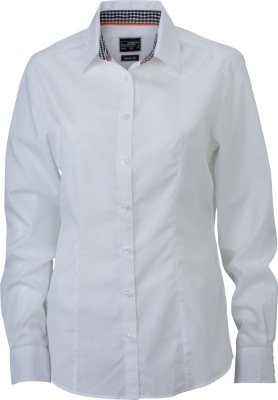 James & Nicholson - Ladies' Plain Shirt (white/black-white)