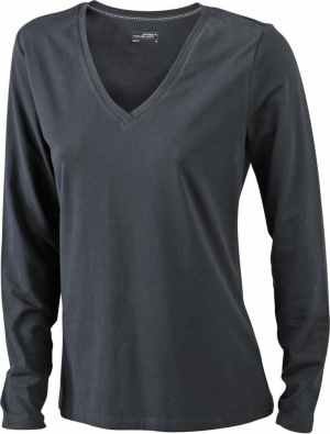 James & Nicholson – Ladies' Stretch V-Shirt Long-Sleeved