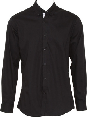 Kustom Kit - Contrast Premium Oxford Shirt Button (Black/Silver Grey (Solid))