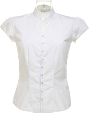 Kustom Kit – Poplin Contintental Blouse Mandarin Collar Cap Sleeve
