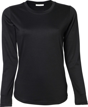 Tee Jays - Ladies Longsleeve Interlock T-Shirt (Black)
