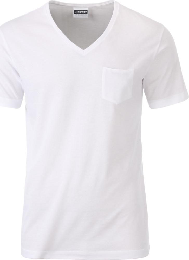 ee24e4a8dc996e Herren Bio V-Neck T-Shirt mit Brusttasche (white) zum besticken und ...