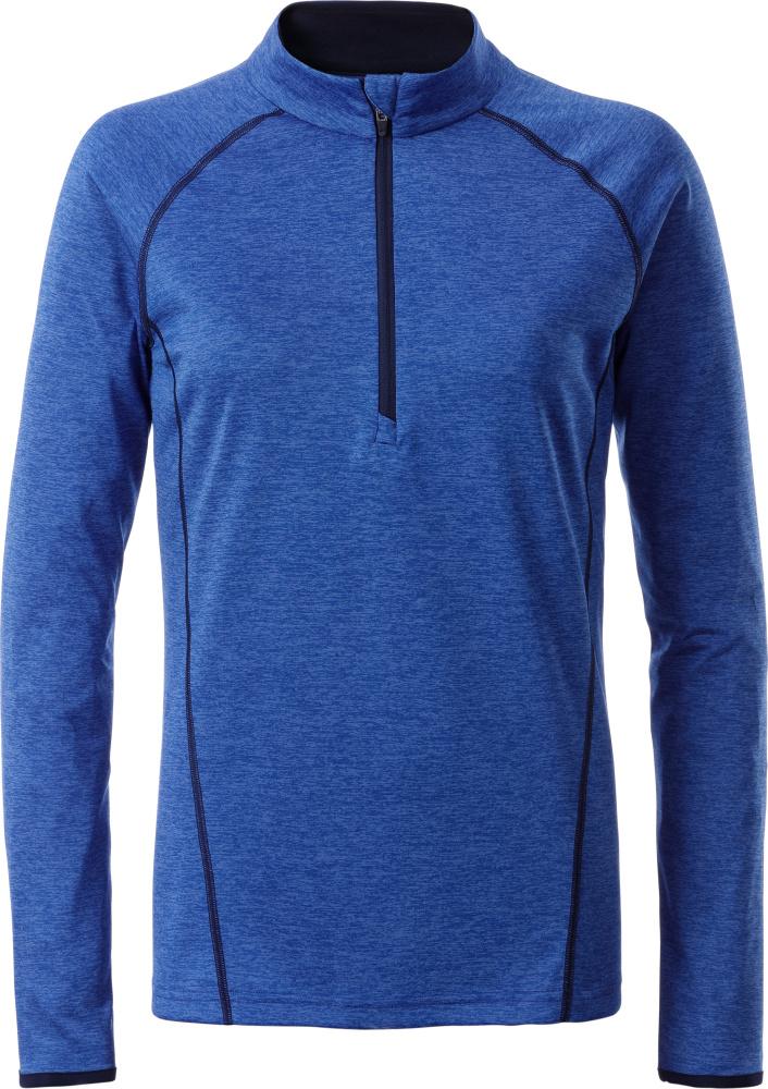 27195ce4bd78ab Damen Langarm Funktions-Shirt (blue melange navy) zum besticken ...
