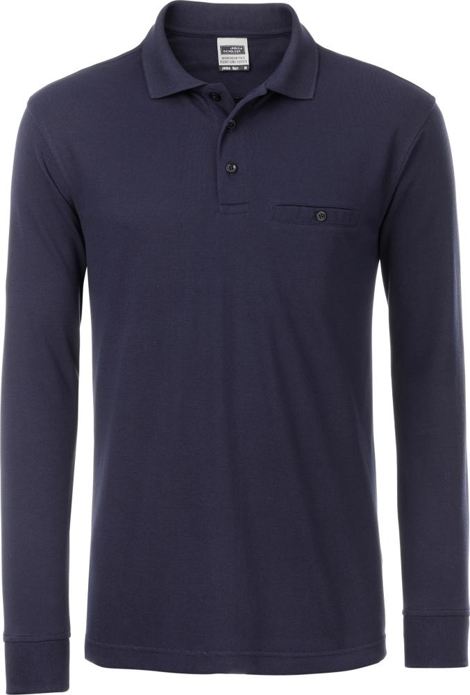 Schnäppchen für Mode toller Wert sehr bequem Herren Workwear Polo mit Brusttasche langarm navy