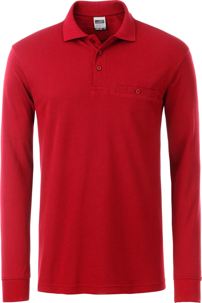 check out 1dc3c 2c73c Herren Workwear Polo mit Brusttasche langarm red