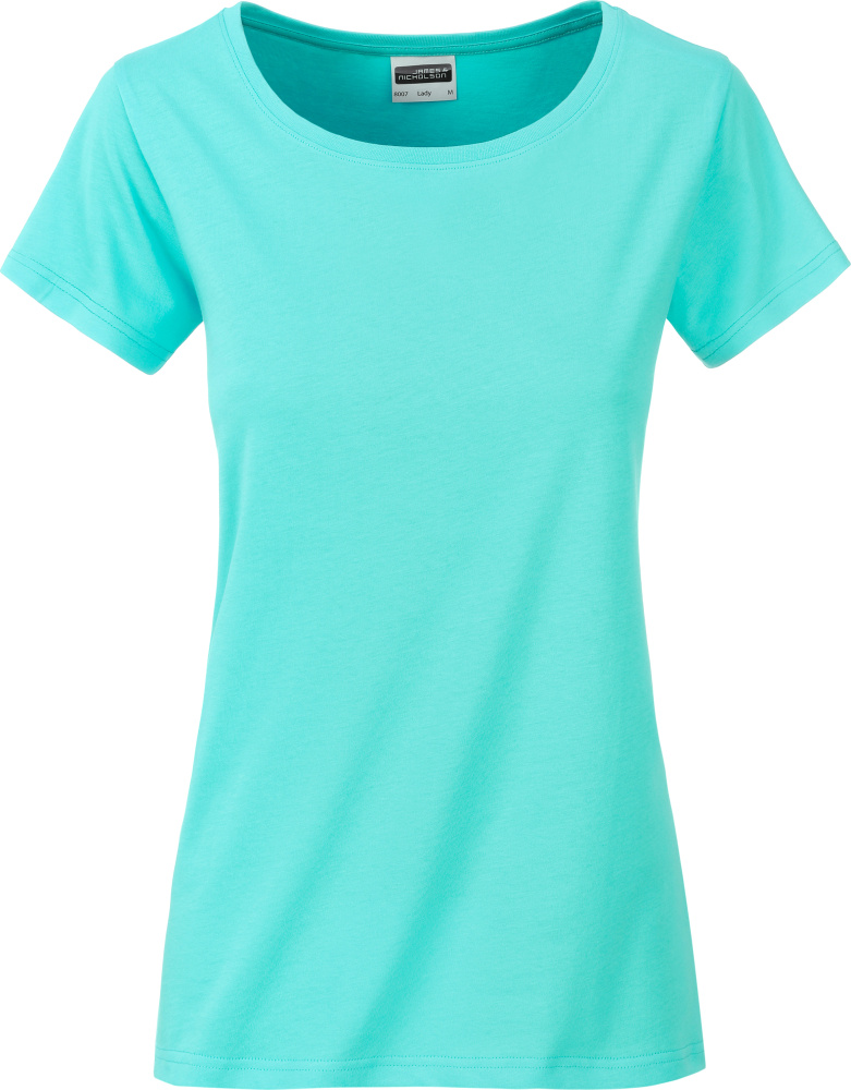 Ladies Basic T Shirt Organic Mint For Embroidery And Printing