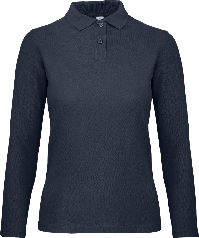 cab1458660 Ladies  Piqué Polo longsleeve (navy) for embroidery and printing ...
