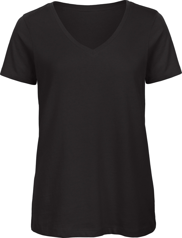 Ladies  V-Neck T-Shirt (black) for embroidery and printing - B C - T ... 680c6ec2a2