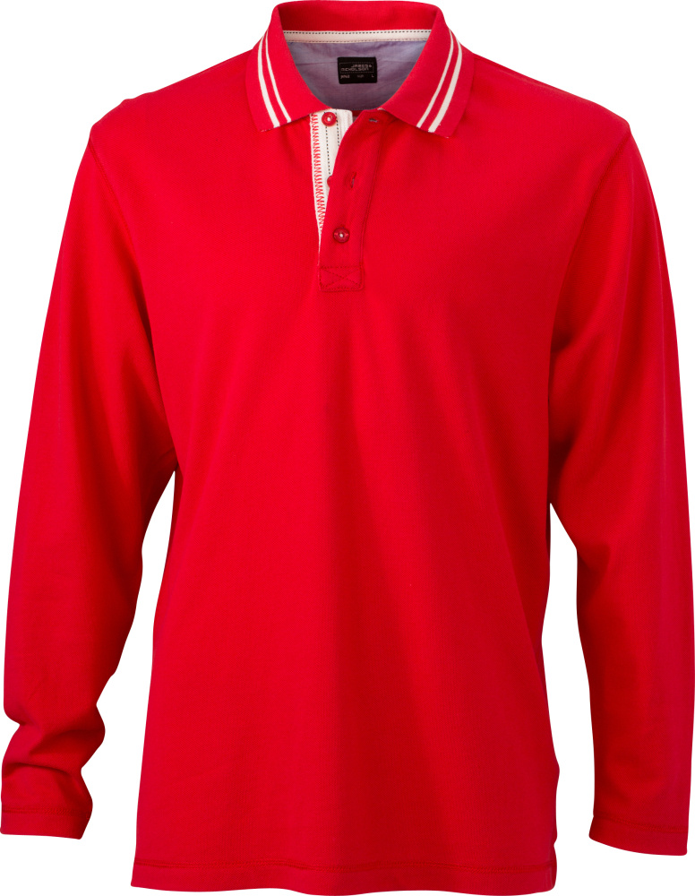 b17600b76 Men s Polo Long-Sleeved (red off-white) for embroidery and printing ...