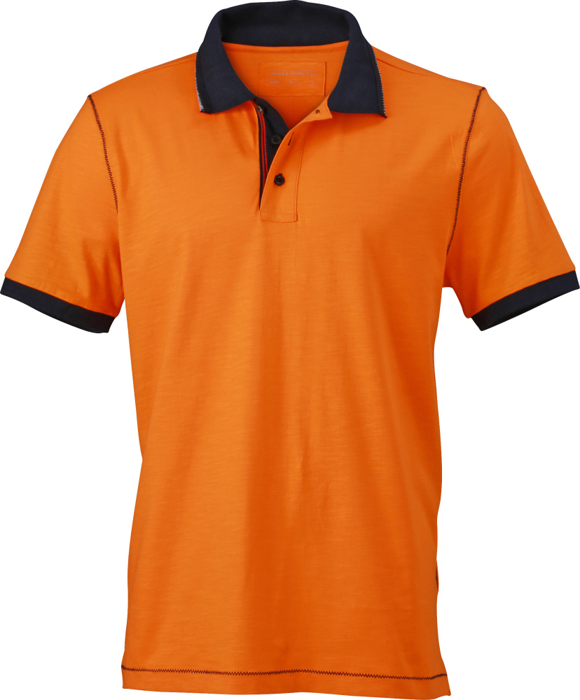 72ab4835b Men´s Urban Polo (Orange/Navy) for embroidery and printing - James ...