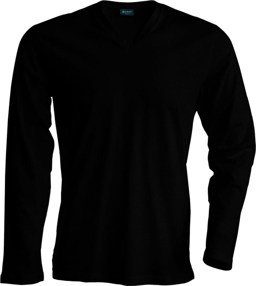 812edbb3c Men ́s Long Sleeve V-Neck T-Shirt (Black) for embroidery and ...