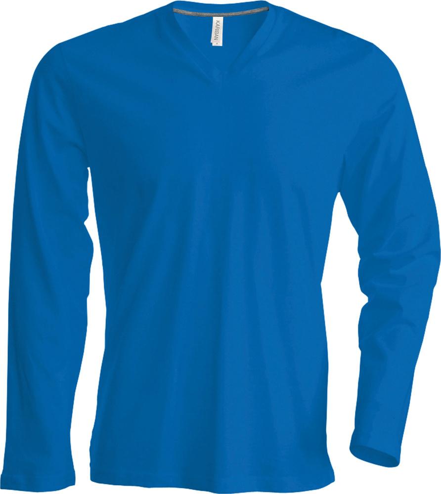 e8e52a3b2b2768 Herren Langarm T-Shirt mit V-Ausschnitt (Light Royal Blue) zum ...