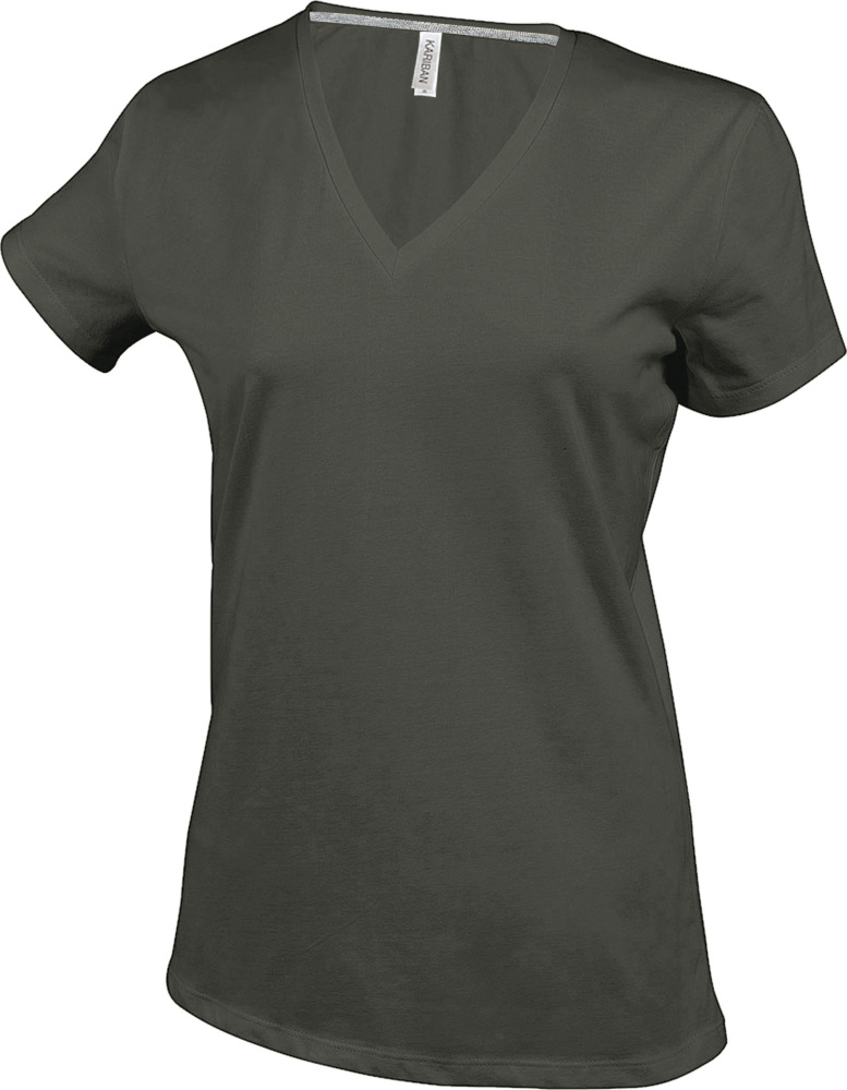 Női rövid ujjú V-nyakú póló (Dark Khaki) hímzéshez és nyomtatáshoz ... 1841295ef5