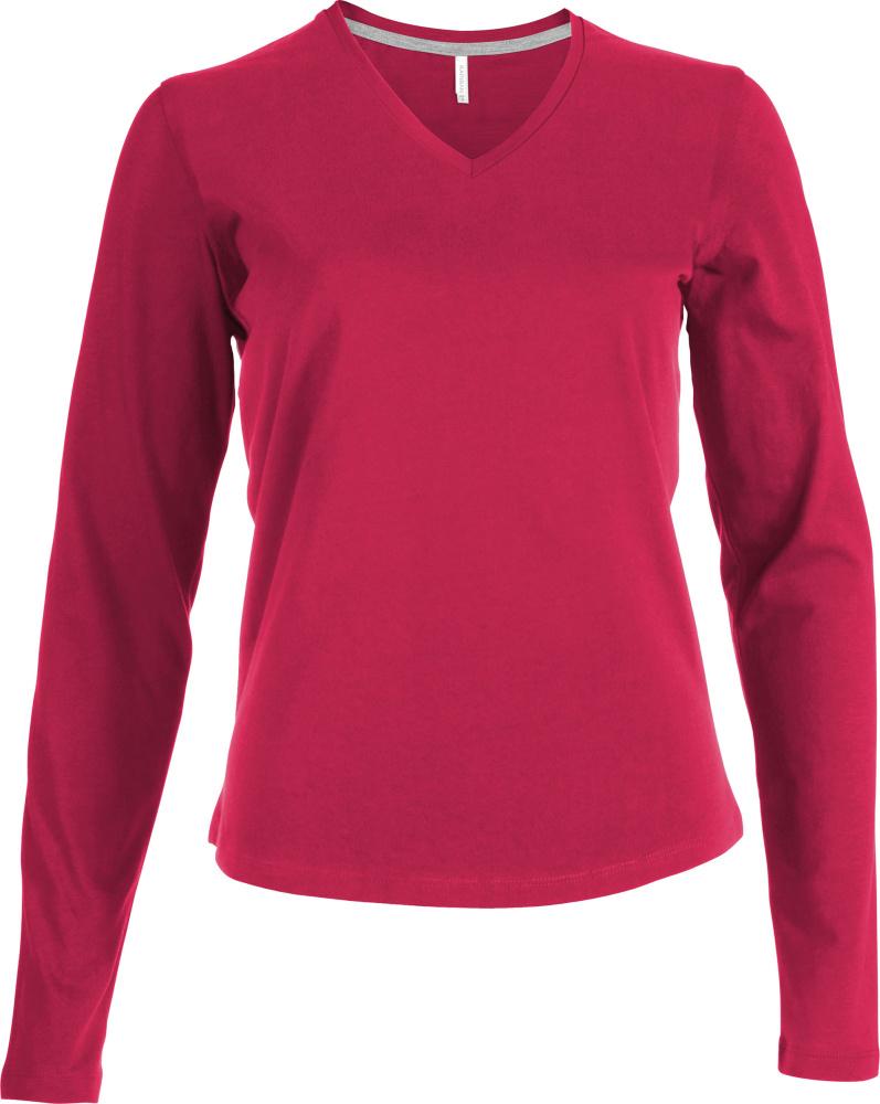 Shirt fuchsia Ausschnitt Mit Langarm Und Besticken T Zum Damen V YqEfwx