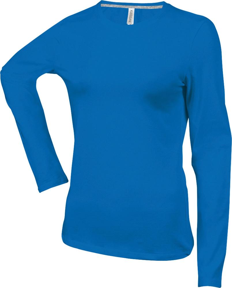 49ffe4b230eea0 Damen Langarm Rundhals T-Shirt (Light Royal Blue) zum besticken und ...