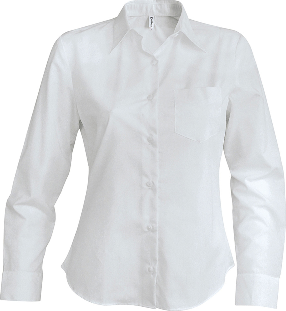 c88b5a96dc3 Ladies Long Sleeve Easy Care Cotton Poplin Shirt White