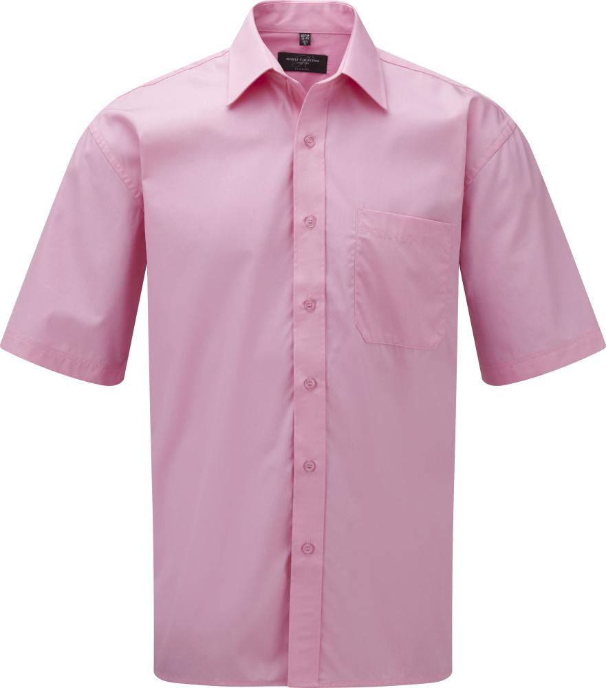102d5b05f3 Rövid ujjú puplin ing (100% Pamut) (Bright Pink) hímzéshez és ...