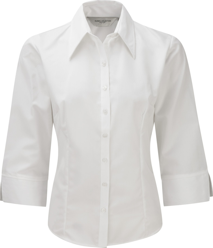 69c3e6366eb25 Ladies´ ¾ Sleeve Tencel® Fitted Shirt (White) for embroidery and ...