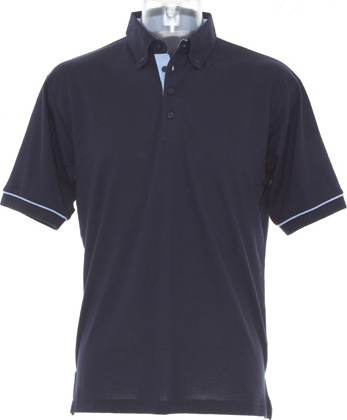 Button Down Collar Contrast Polo Shirt (Navy Light Blue) for ... b7f0195c2f3